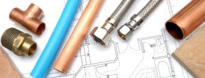 Schläuche, Leitungen und Anschlüsse auf Bauplan für Badumbau